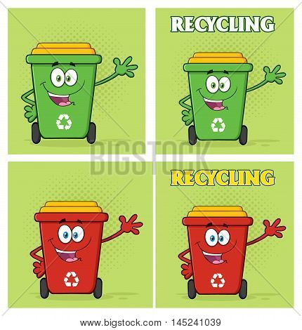 Recycle Bin Cartoon Character 4. Collection Set With Background