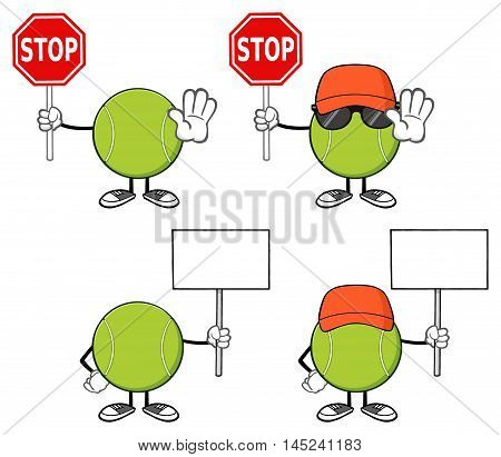Tennis Ball Faceless Cartoon Mascot Character 10. Collection Set Isolated On White Background