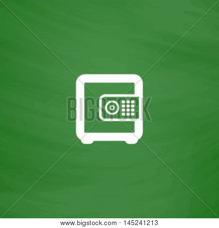 Safe money. Flat Icon. Imitation draw with white chalk on green chalkboard. Flat Pictogram and School board background. Vector illustration symbol