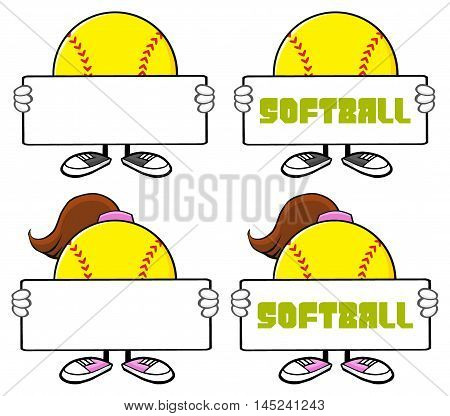 Softball Faceless Player Cartoon Character 4. Collection Set Isolated On White Background