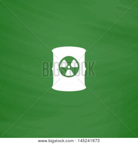Container with radioactive waste. Flat Icon. Imitation draw with white chalk on green chalkboard. Flat Pictogram and School board background. Vector illustration symbol
