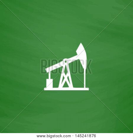 Oil derrick. Flat Icon. Imitation draw with white chalk on green chalkboard. Flat Pictogram and School board background. Vector illustration symbol