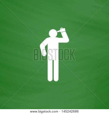 People consume alcohol or water. Flat Icon. Imitation draw with white chalk on green chalkboard. Flat Pictogram and School board background. Vector illustration symbol