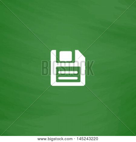 Magnetic floppy disc for computer data storage. Flat Icon. Imitation draw with white chalk on green chalkboard. Flat Pictogram and School board background. Vector illustration symbol