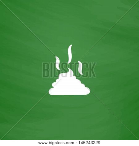 Feces. Clean up after pets symbol. Put it in the bag. Flat Icon. Imitation draw with white chalk on green chalkboard. Flat Pictogram and School board background. Vector illustration symbol