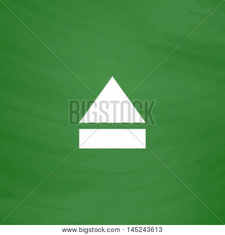 Eject or open player. Flat Icon. Imitation draw with white chalk on green chalkboard. Flat Pictogram and School board background. Vector illustration symbol