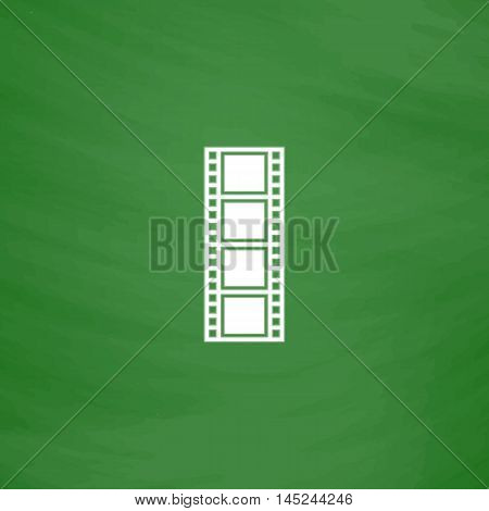 Cinematographic film. Flat Icon. Imitation draw with white chalk on green chalkboard. Flat Pictogram and School board background. Vector illustration symbol