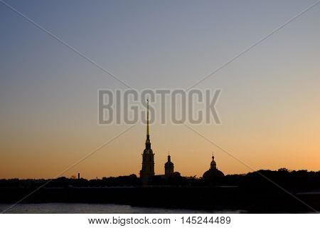 Peter And Paul Fortress And The Sunset