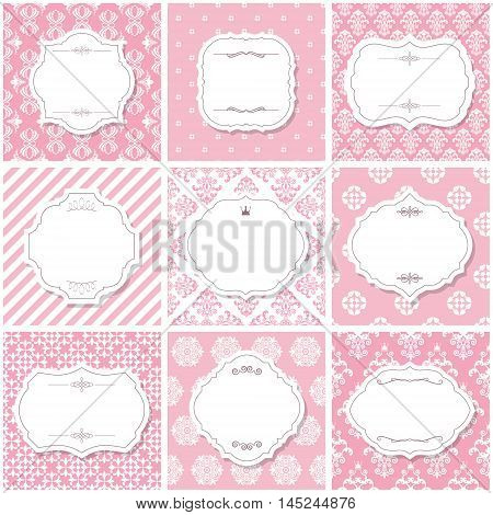 Elegant frame set on seamless patterns in pastel pink. Girly.