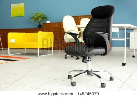 Black office chair for sale in furniture store