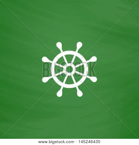 Simple rudder. Flat Icon. Imitation draw with white chalk on green chalkboard. Flat Pictogram and School board background. Vector illustration symbol