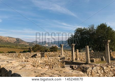 Roman ruins and colums of Volubilis in the area of Fes- Meknes on a sunny day with blue sky. In the background you can see some mountains and the city of Moulay Idriss.