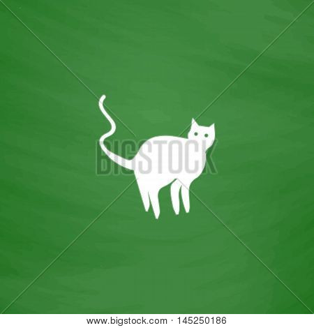 Evil Cat silhouette. Flat Icon. Imitation draw with white chalk on green chalkboard. Flat Pictogram and School board background. Vector illustration symbol