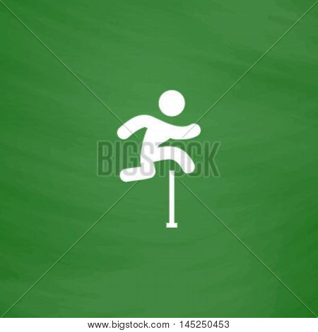 Man figure jumping over obstacles. Flat Icon. Imitation draw with white chalk on green chalkboard. Flat Pictogram and School board background. Vector illustration symbol