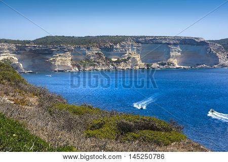 Coast And Sea At Bonifacio With A Blue Sky, Corsica
