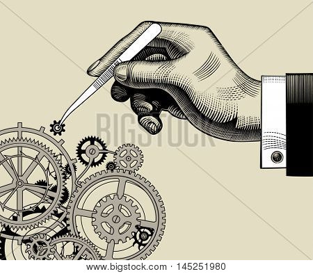 Hand with tweezers and gear wheels of clockwork. Vintage stylized drawing. Vector Illustration