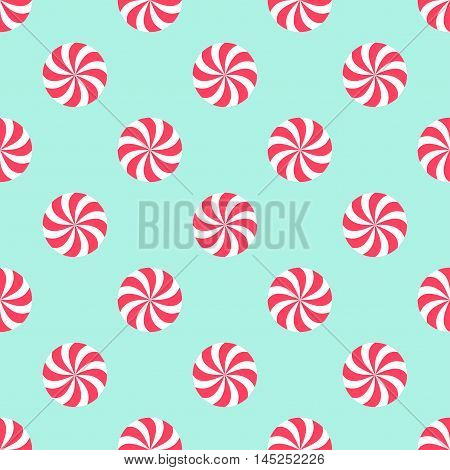 Candy Christmas pattern. Happy New Year and Merry Xmas seamless background. Vector winter holidays print for textile, wallpaper, fabric, wallpaper.