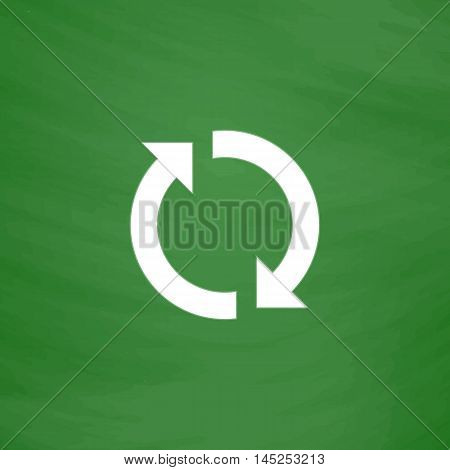 Refresh reload rotation loop sign. Flat Icon. Imitation draw with white chalk on green chalkboard. Flat Pictogram and School board background. Vector illustration symbol