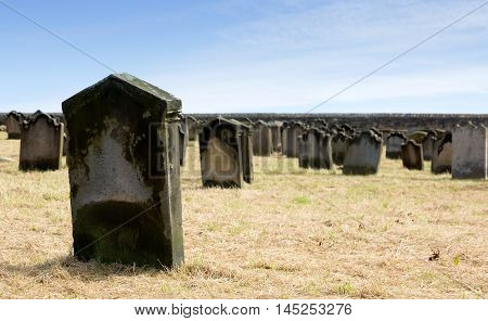 Old grave yard with many grave stones