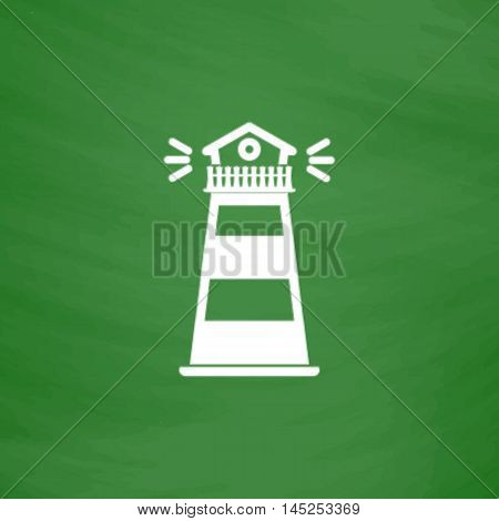 Lighthouse. Flat Icon. Imitation draw with white chalk on green chalkboard. Flat Pictogram and School board background. Vector illustration symbol