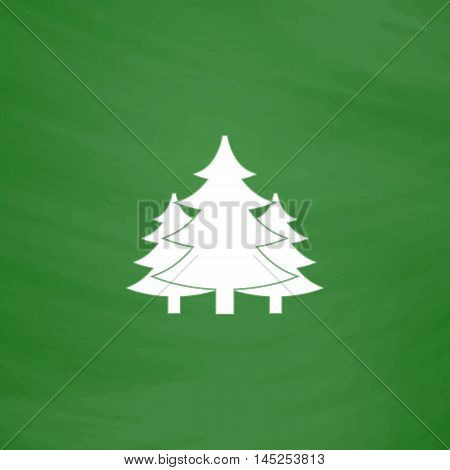 Tree, Christmas fir tree. Flat Icon. Imitation draw with white chalk on green chalkboard. Flat Pictogram and School board background. Vector illustration symbol