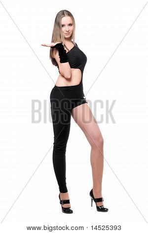 Sexy Playful Young Woman In Skintight Black Costume