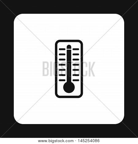 Thermometer indicates extremely high temperature icon in simple style on a white background