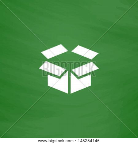 Open box. Flat Icon. Imitation draw with white chalk on green chalkboard. Flat Pictogram and School board background. Vector illustration symbol