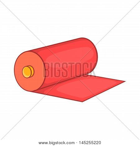 Red fabric roll icon in cartoon style isolated on white background