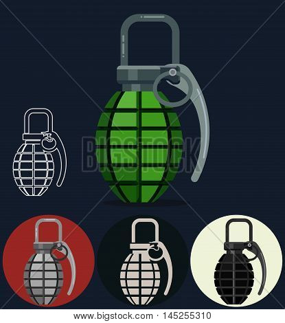 Hand grenade, army manual explosive bomb weapon. Emergency pineapple flat style vector