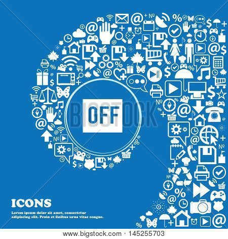 Off Icon . Nice Set Of Beautiful Icons Twisted Spiral Into The Center Of One Large Icon. Vector