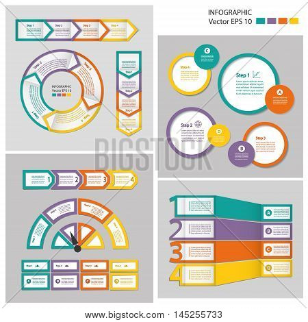 Infographics. Process chart module. Template for cycling diagram graph presentation and round chart.