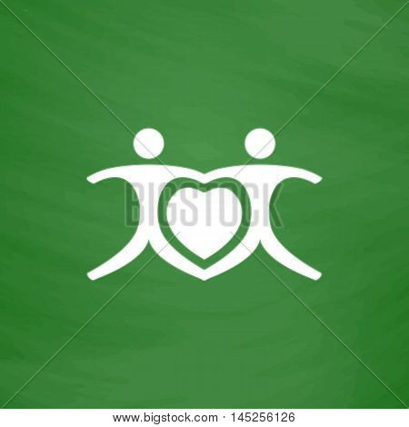 Love people - heart. Flat Icon. Imitation draw with white chalk on green chalkboard. Flat Pictogram and School board background. Vector illustration symbol