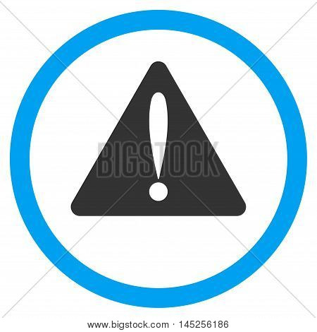 Warning Error vector bicolor rounded icon. Image style is a flat icon symbol inside a circle, blue and gray colors, white background.