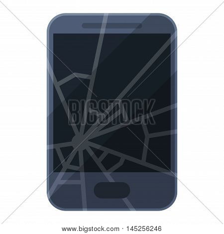 Render of broken smartphone vector glass electronic. Digital technology cell smart phone broken phone screen repair. Smartphone communication crack equipment device broken phone