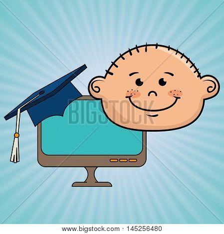 student boy laptop idea vector illustration eps10 eps 10