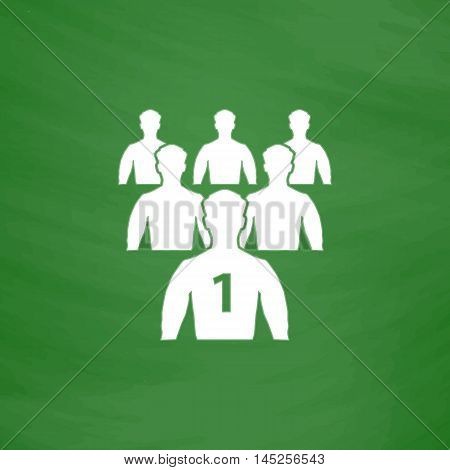 Leadership. Flat Icon. Imitation draw with white chalk on green chalkboard. Flat Pictogram and School board background. Vector illustration symbol