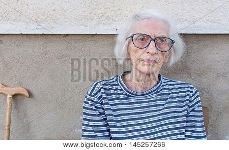 Ninety Years Old Grandma Portrait Outdoors