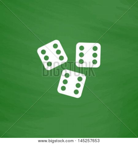 Lucky dices casino gambling game jackpot. Flat Icon. Imitation draw with white chalk on green chalkboard. Flat Pictogram and School board background. Vector illustration symbol