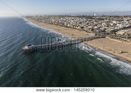 Manhattan Beach, California, USA - August 16, 2016:  Aerial view of Manhattan Beach Pier near Los Angeles in Southern California.