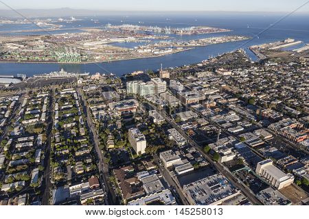 Los Angeles, California, USA - August 16, 2016:  Aerial view of downtown San Pedro and Terminal Island in Southern California.