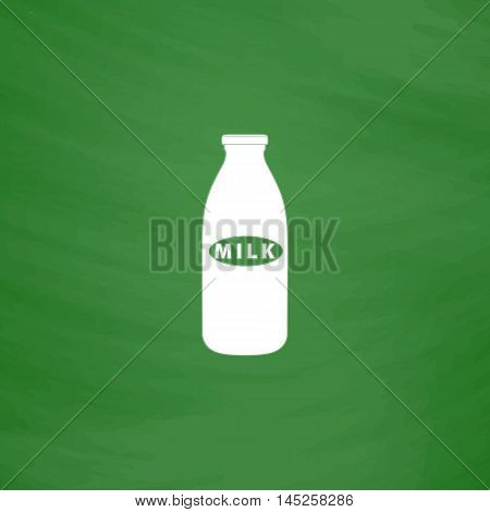 Milk bottle. Flat Icon. Imitation draw with white chalk on green chalkboard. Flat Pictogram and School board background. Vector illustration symbol