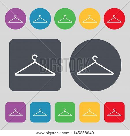 Clothes Hanger Icon Sign. A Set Of 12 Colored Buttons. Flat Design. Vector