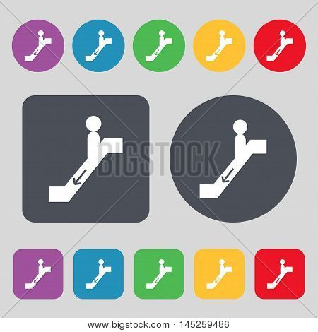 Escalator Down Icon Sign. A Set Of 12 Colored Buttons. Flat Design. Vector
