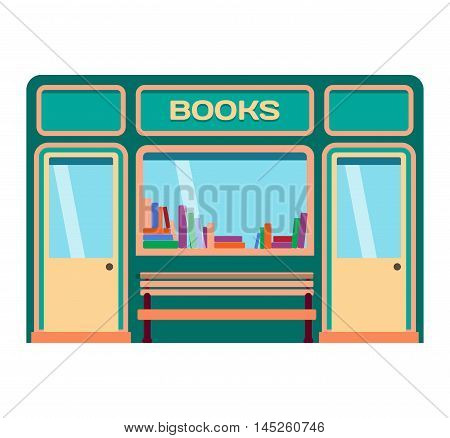 Vector flat design shop facade isolated. Some shop facade isolated on white background. Book shop facade store
