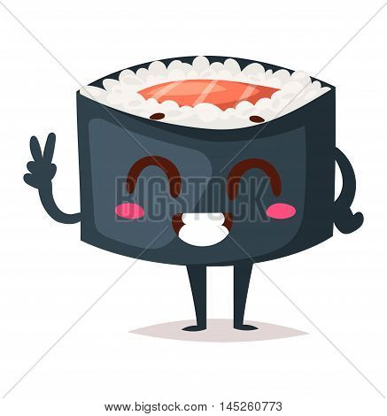 Fun sushi character vector isolated. Japaneseemotions sushi character food with cute face vector illustration. Japanese comic seafood cuisine sushi character funny food avatar emojji icon asian food
