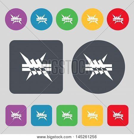 Barbed Wire Icon. Sign. A Set Of 12 Colored Buttons. Flat Design. Vector