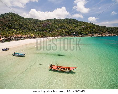 Aerial view of beach boat Koh Phangan Thailand