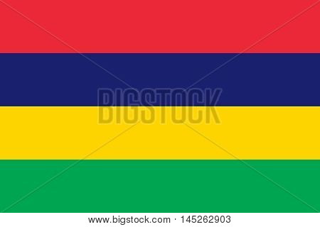 Flag of Mauritius in correct size proportions and colors. Accurate dimensions. Mauritian national flag. Vector illustration