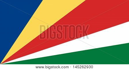 Flag of Seychelles in correct size proportions and colors. Accurate dimensions. Seychelles national flag. Vector illustration